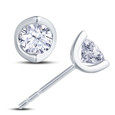 18ct White Gold 2 Claw Cup Setting 0.70ct Diamond Stud Earrings
