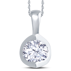 18ct White Gold 2 Claw Cup Setting 0.40ct Diamond Pendant Necklace