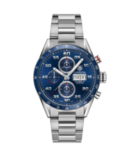TAG Heuer Carrera Calibre 16 Blue Dial Day-Date Chronograph Stainless Steel Mens Watch CV2A1V.BA0738
