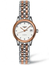 Longines Flagship Mother of Pearl Diamond Set Dial Two Tone Womens Watch L42743997