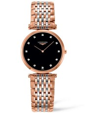 Longines La Grande Classique de Longines Diamond Set Black Dial Rose Two Tone Womens Quartz Watch 29mm L45121577