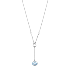 Georg Jensen SAVANNAH Sterling Silver & Blue Topaz Pendant Necklace 10009395