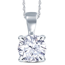 18ct White Gold 4 Claw Set 0.40ct Diamond Pendant Necklace