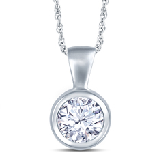 18ct White Gold Rubover Set 0.50ct Diamond Pendant Necklace