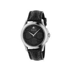 Gucci G-Timeless Bee & GG Black Leather Signature Dial Stainless Steel Unisex Quartz Watch YA1264031