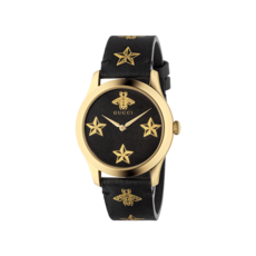 Gucci G-Timeless Le Marché des Merveilles Garden Bee & Stars Black Leather Dial PVD Gold Plated Unisex Quartz Watch YA1264055