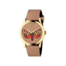Gucci G-Timeless Butterfly Leather Dial PVD Gold Plated Unisex Quartz Watch YA1264063