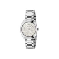 Gucci GG2570 Silver Diamond Set Dial Stainless Steel Womens Quartz Watch YA142504