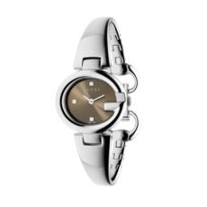 Gucci Guccissima Brown Dial Stainless Steel Bangle Womens Quartz Watch YA134503