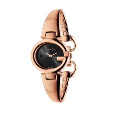 Gucci Guccissima Black Dial Rose PVD Gold Plated Bangle Womens Quartz Watch YA134509
