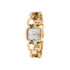 Gucci G-Gucci Mother of Pearl Diamond Set Dial PVD Gold Plated Womens Quartz Watch YA125513