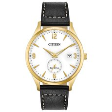 Citizen Eco-Drive BTW By The Way White Dial Gold Plated Mens Watch BV1112-05A