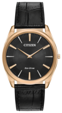 Citizen Eco-Drive Stiletto Black Dial Rose Gold Plated Mens Watch AR3073-06E