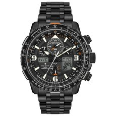 Citizen Eco-Drive Promaster Skyhawk A-T Black Dial Stainless Steel Mens Radio Controlled Chronograph Watch JY8075-51E