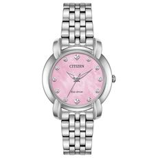 Citizen Eco-Drive Jolie Pink Mother of Pearl Dial Diamond Set Stainless Steel Watch EM0710-54Y