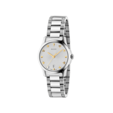 Gucci G-Timeless Silver Dial Stainless Steel Womens Quartz Watch YA126572