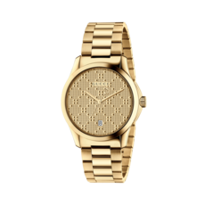 Gucci G-Timeless Diamante Pattern Dial PVD Gold Plated Unisex Quartz Watch YA126461