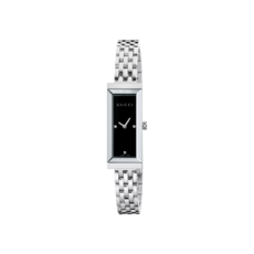 Gucci G-Frame Black Diamond Set Dial Stainless Steel Womens Quartz Watch YA127504