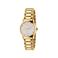 Gucci G-Timeless Silver Dial PVD Gold Plated Womens Quartz Watch YA126576