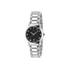 Gucci G-Timeless Black Dial Stainless Steel Womens Quartz Watch YA126573
