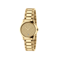Gucci G-Timeless Diamante Pattern Dial PVD Gold Plated Womens Quartz Watch YA126553