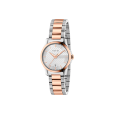Gucci G-Timeless Silver Dial Two Tone Womens Quartz Watch YA126564