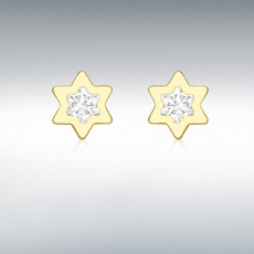 9ct Yellow Gold & Cubic Zirconia Star Stud Earrings