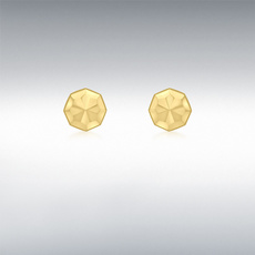 9ct Gold Diamond Cut Octagonal Stud Earrings