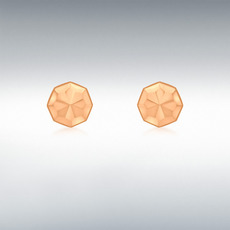 9ct Rose Gold Diamond Cut Octagonal Stud Earrings