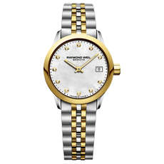 Raymond Weil Freelancer Mother of Pearl Diamond Set Dial Two Tone Womens Quartz Watch 5626-STP-97081