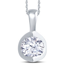 18ct White Gold 2 Claw Cup Setting 1.00ct Diamond Pendant Necklace