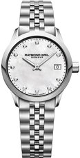 Raymond Weil Freelancer Mother of Pearl Diamond Set Dial Stainless Steel Womens Quartz Watch 5626-ST-97081