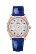 Omega Seamaster Aqua Terra 150M Omega Co-Axial Master Chronometer Diamond & Sapphire Dial 18ct Rose Gold Womens Watch 22058382099002