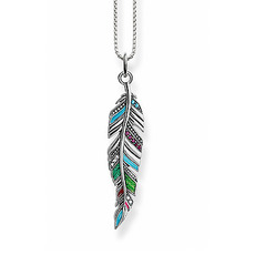 Thomas Sabo Glam & Soul Sterling Silver Multi-Stone Ethnic Feather Pendant Necklace SCKE150239