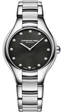 Raymond Weil Noemia Diamond Dot Black Dial Stainless Steel Womens Quartz Watch 32mm 5132-ST-20081
