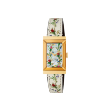 Gucci G-Frame Mother of Pearl Flower Dial PVD Gold Plated Womens Quartz Watch YA147407