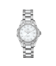 TAG Heuer Aquaracer Stainless Steel Mother of Pearl Diamond Set Dial Womens Quartz Watch 35mm WBD131B.BA0748
