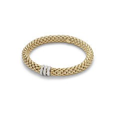 FOPE Flex'it Love Nest 18ct Gold & Diamond Bracelet 451BPAVEM