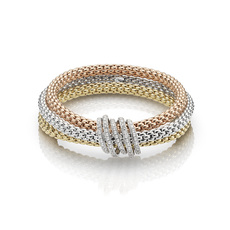 FOPE Flex'it MiaLuce 18ct Yellow, White & Rose Gold Diamond Set Bracelet 651BPAVEM