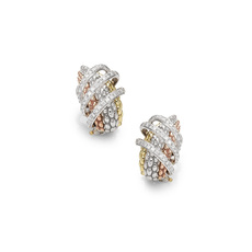 FOPE MiaLuce 18ct Yellow, White & Rose Gold Diamond Set Stud Earrings OR651PAVE