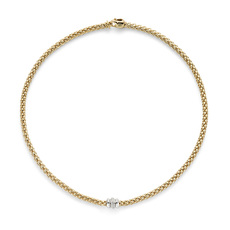 FOPE Flex'it Solo 18ct Gold & Diamond Set Necklace 653CBBR