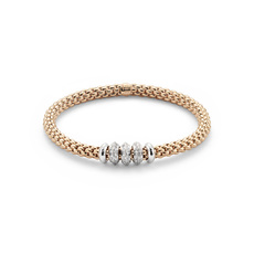 FOPE Flex'it Solo 18ct Rose Gold & Diamond Bracelet 655BBBRM