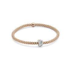 FOPE Flex'it Prima 18ct Rose Gold & Diamond Bracelet 744BPAVEM