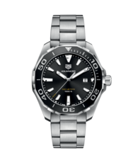 TAG Heuer Aquaracer Black Dial & Bezel Stainless Steel Mens Quartz Watch WAY101A.BA0746