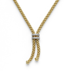 FOPE Maori 18ct Gold Diamond Set Lariat Style Tassel Necklace 809BBR