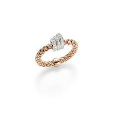 FOPE Flex'it Prima 18ct Rose Gold & Diamond Ring (Medium) AN744PAVEM