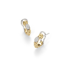 FOPE Flex'it Eka Tiny 18ct Gold & Diamond Hoop Style Earrings OR730PAVE