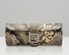 WOLF Exotic Python Effect Tan Travel/Storage Watch Roll 462822