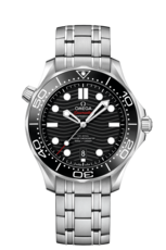Omega Seamaster Diver 300M Omega Co-Axial Master Chronometer Black Dial Stainless Steel Mens Watch 21030422001001