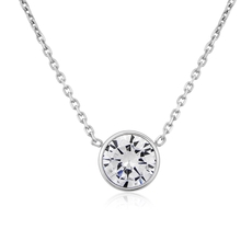 9ct White Gold Rubover Set Cubic Zirconia Solitaire Pendant Necklace